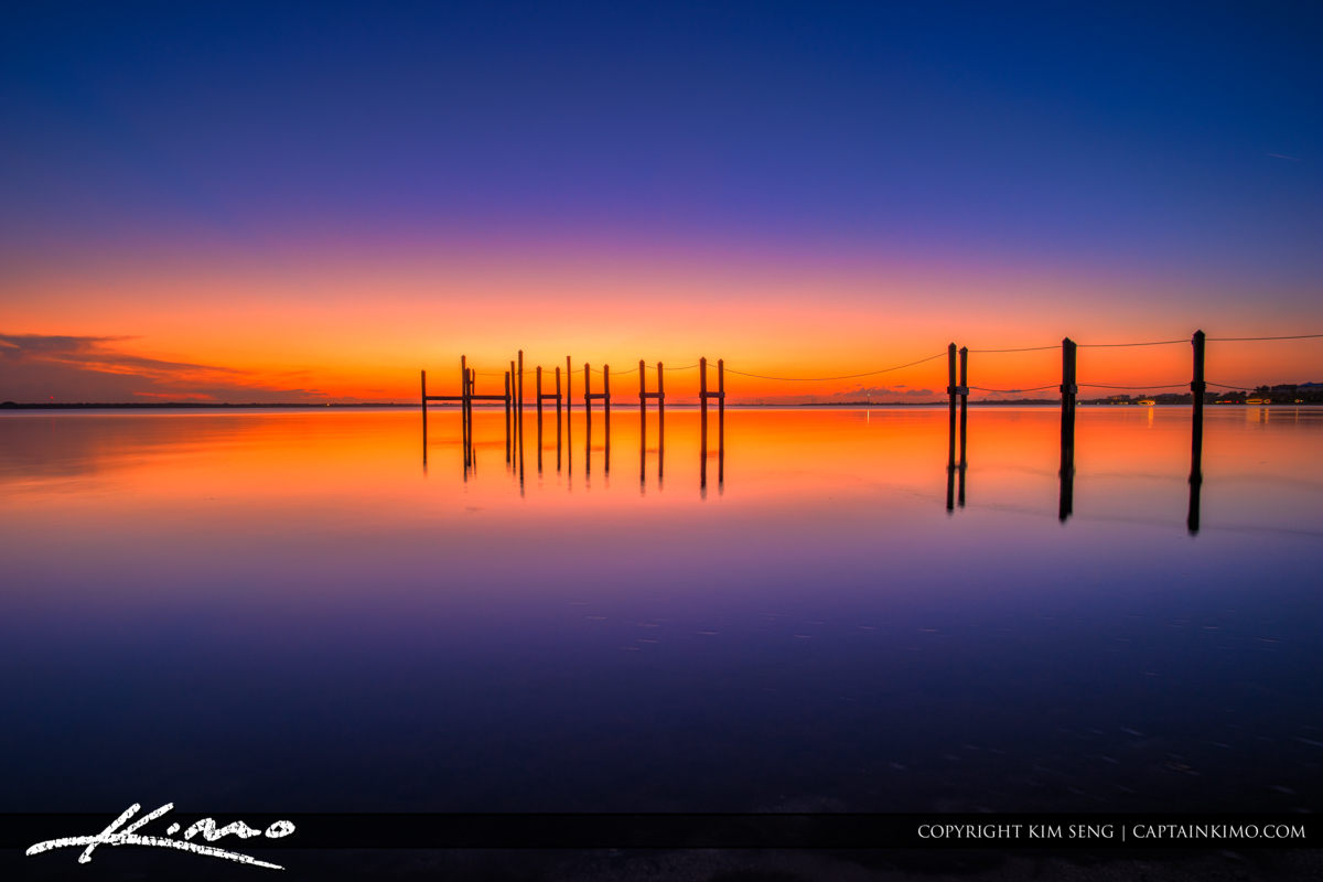 Fort Pierce Indian River Purple Sunset Pilings