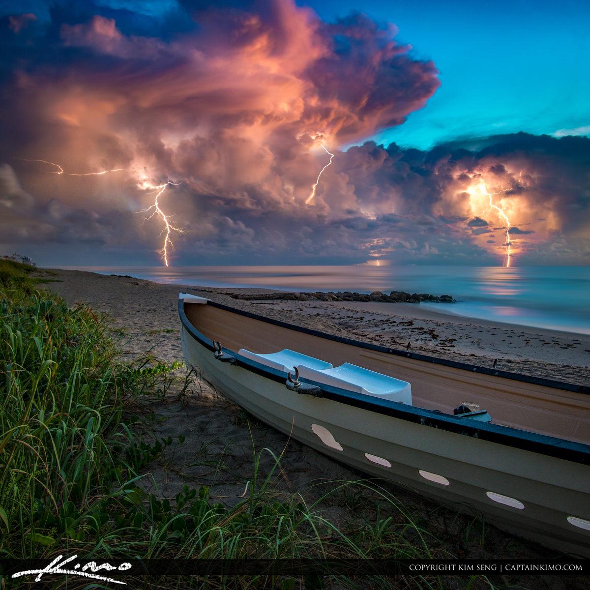 Lightning Storm Lifeguard Boat Palm Beach Island Square