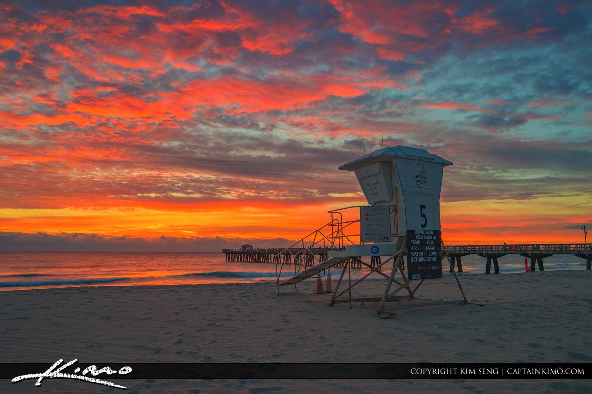 Pompano Beach Pier Guard Tower at Sunrise