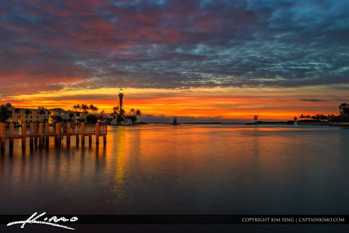 Hillsboro Inlet Lighthouse Pompano Beach  Early Morning Colors