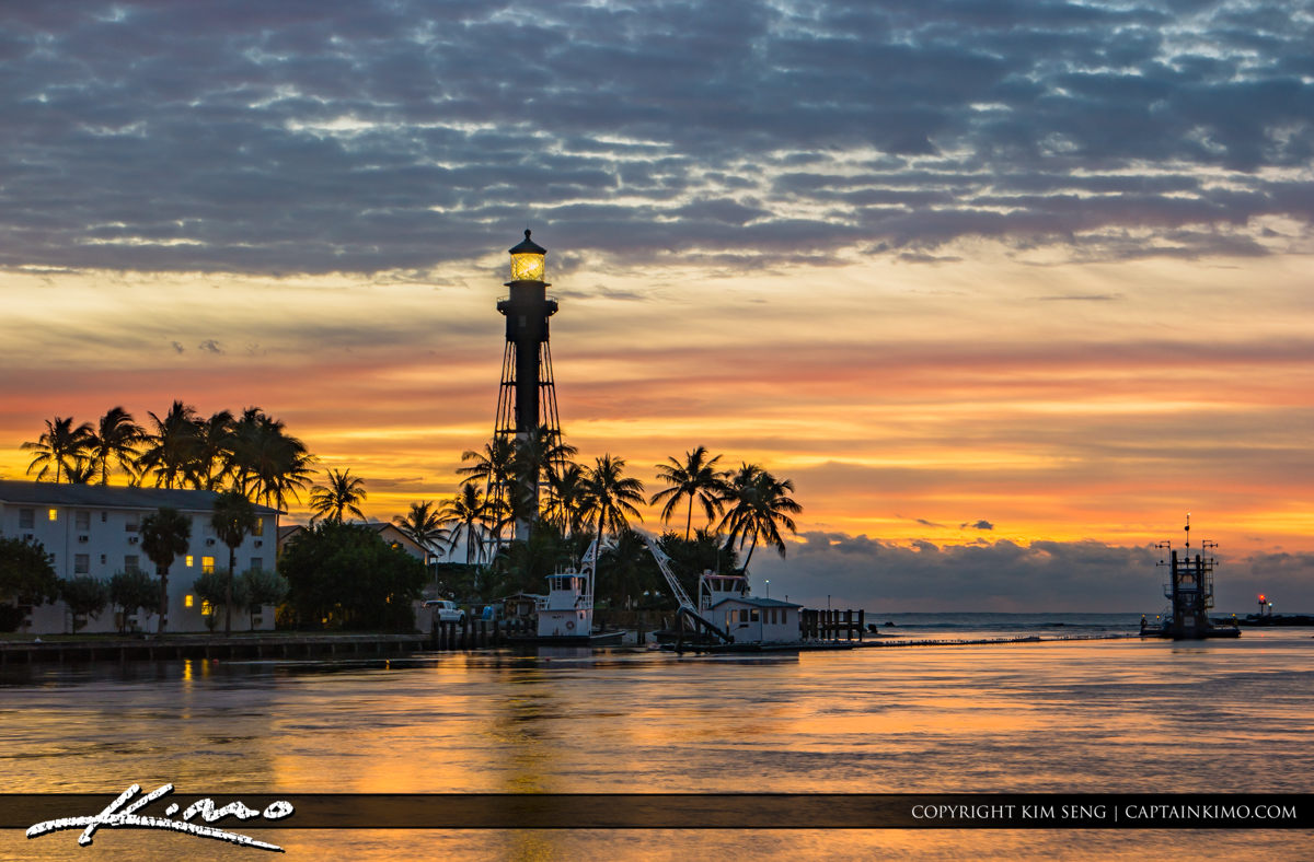 Hillsboro Inlet Lighthouse Pompano Beach Sky Colors Early Mornin