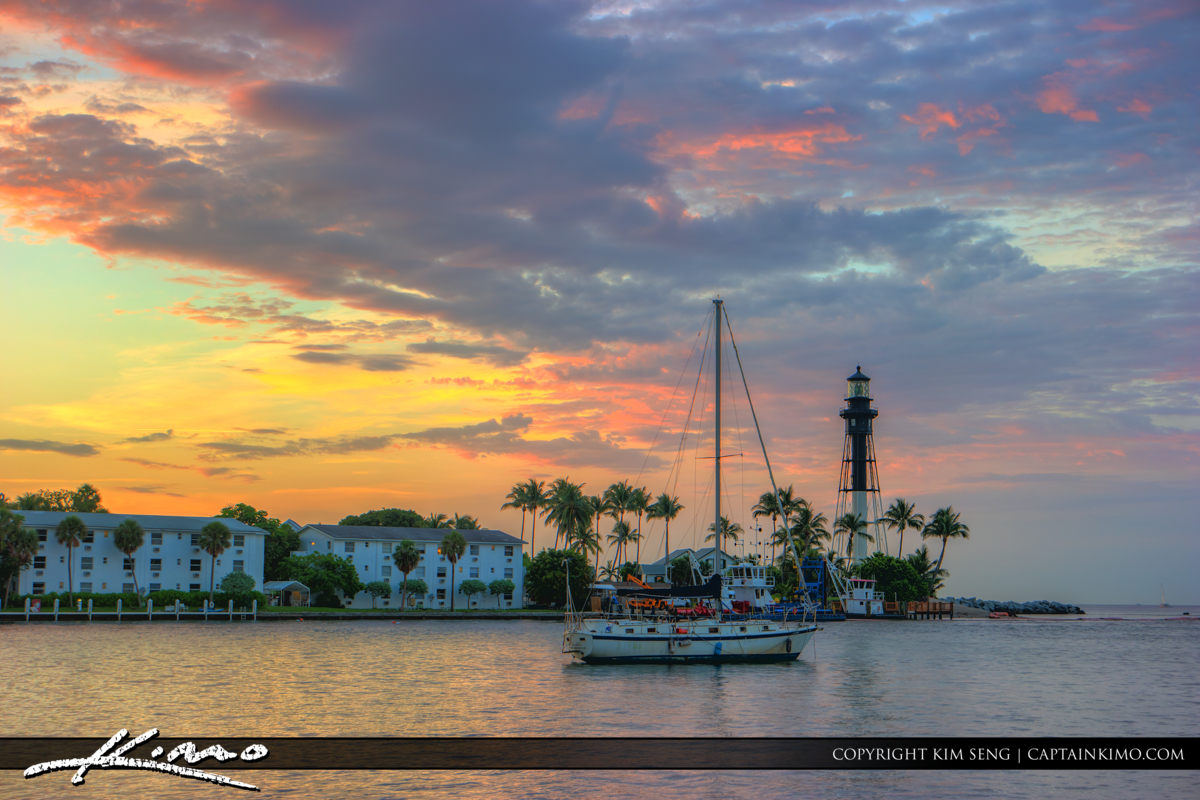 Hillsboro Inlet Lighthouse Pompano Beach Sailboat with Colors