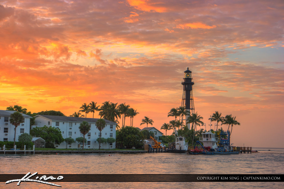 Hillsboro Inlet Lighthouse Pompano Beach Beauitful Day at Inlet