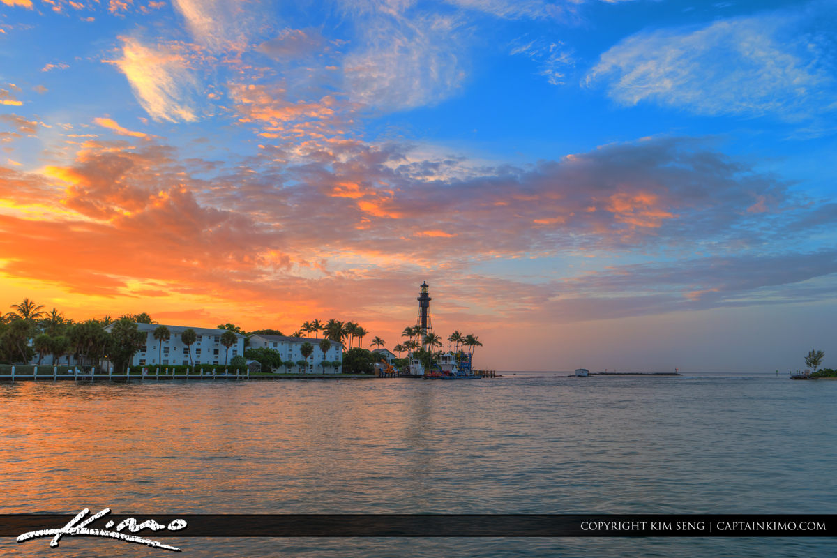 Hillsboro Inlet Lighthouse Pompano Beach Wide Shot with Colorful