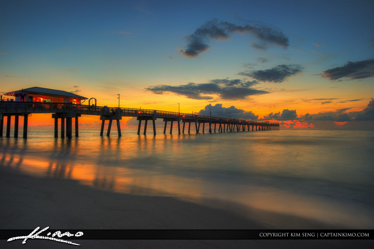 Dania Beach Pier Dreamy Warm Sunrise