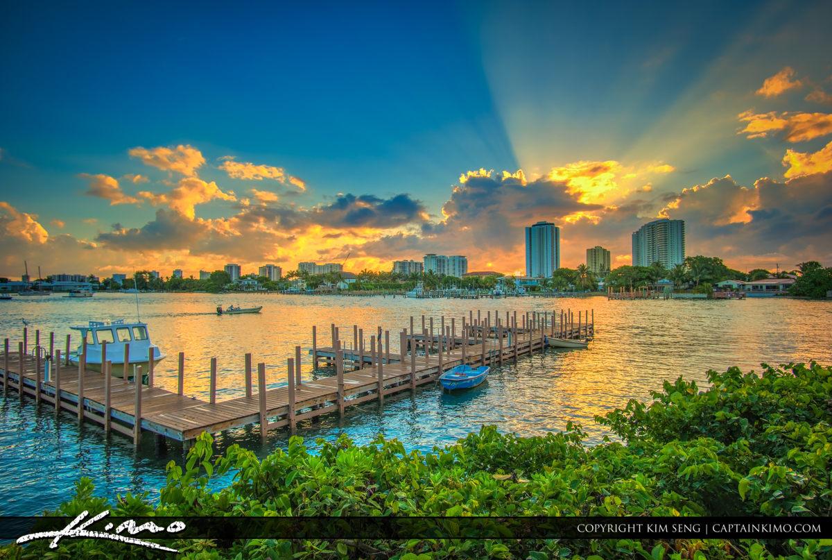 Boat Dock Phil Foster Park Sunrise Over Singer Island