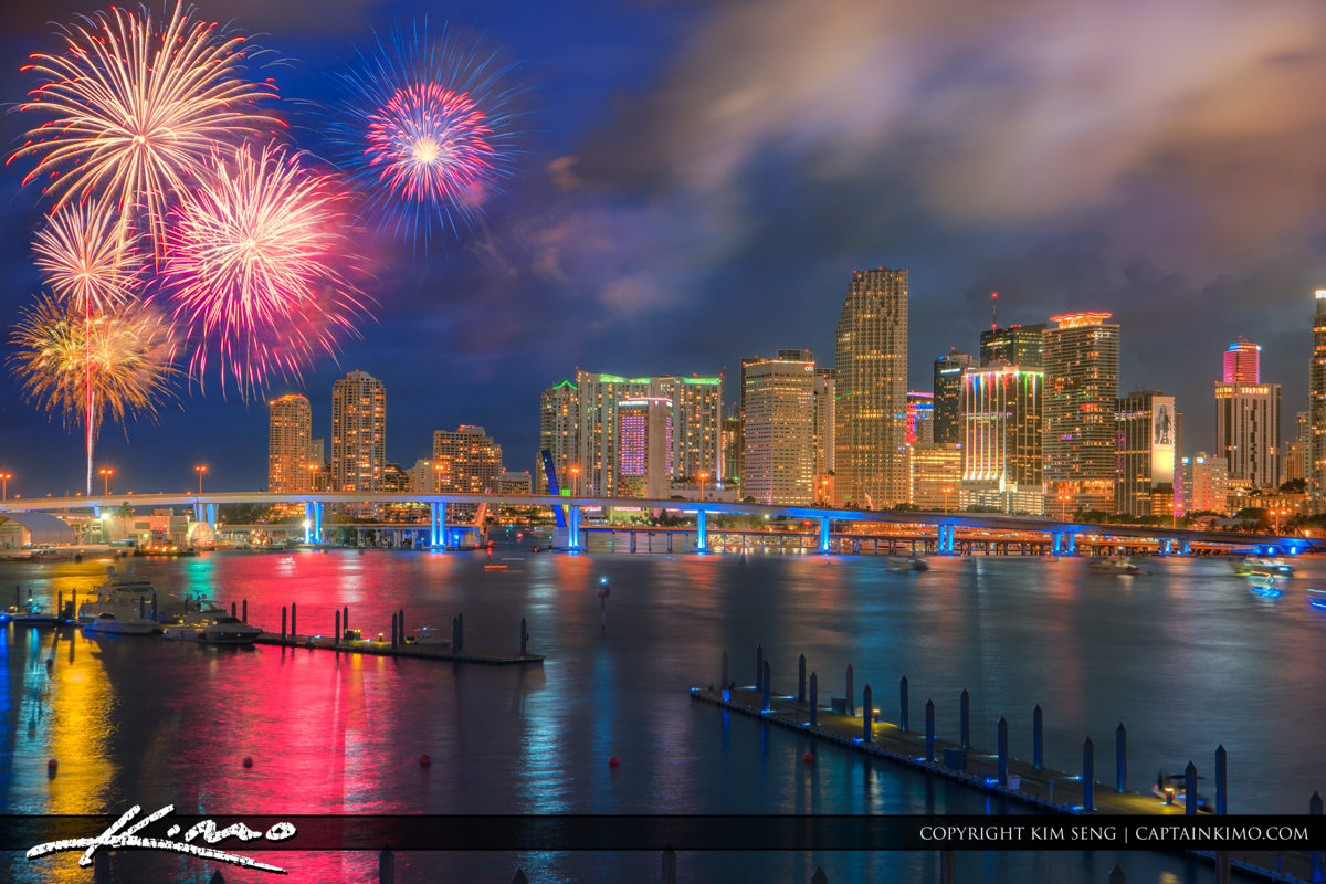 Miami Independence Day Fireworks Over the Waterway