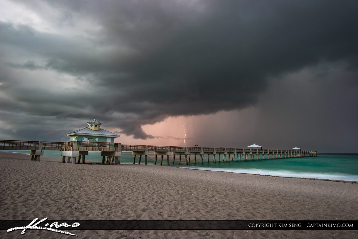 Lightning Over the Juno Beach Pier Last Storm