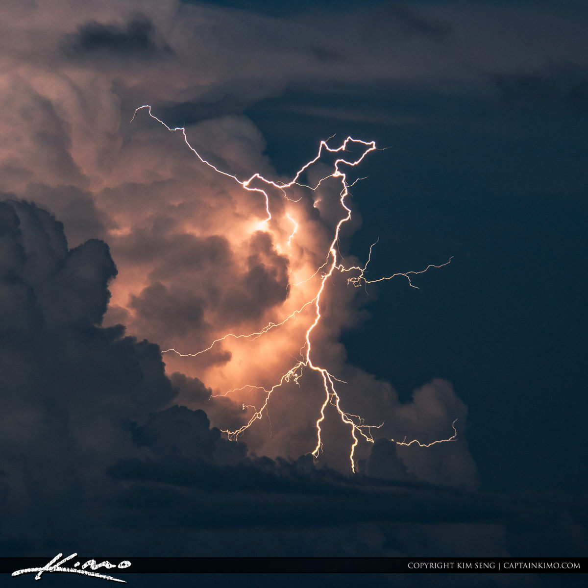 Lightning Bolt from Storm Over Ocean