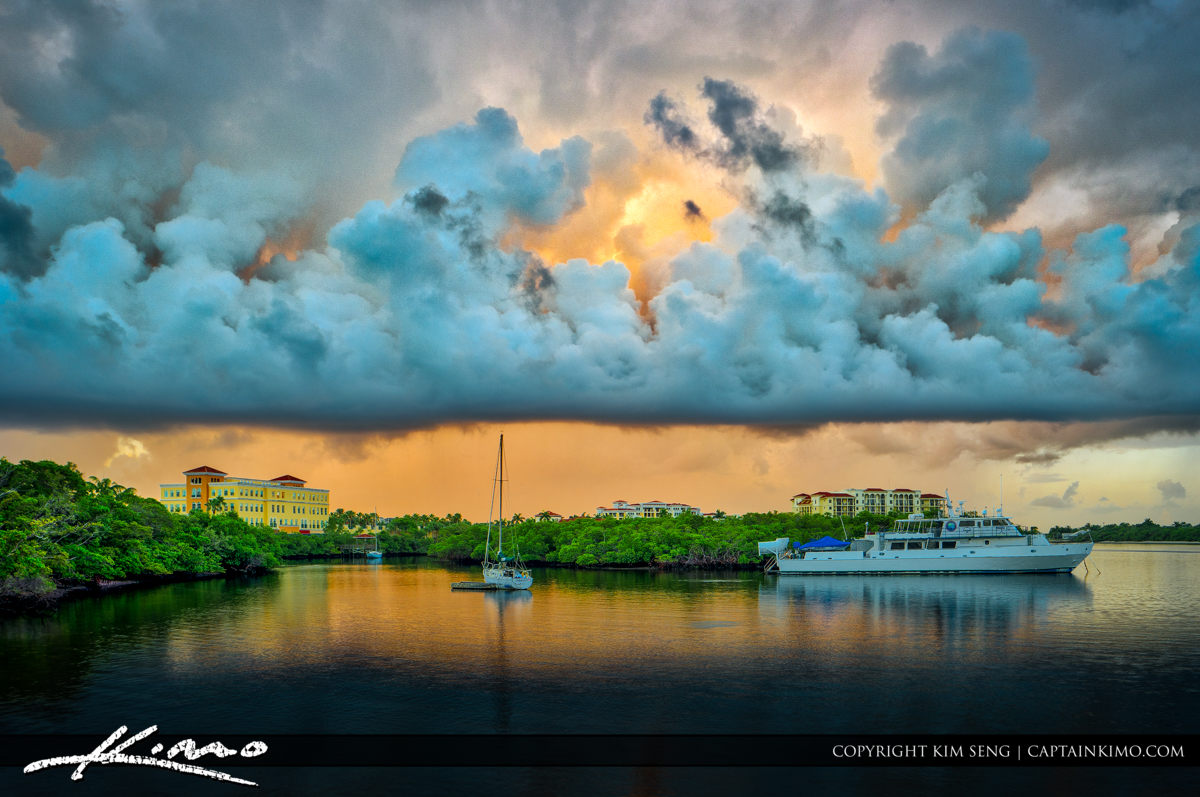 Dramatic Clouds Over Jupiter Florida along the Waterway