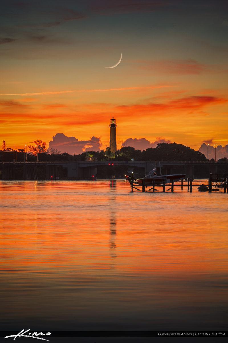 Crescent Moon Over Jupiter Lighthouse