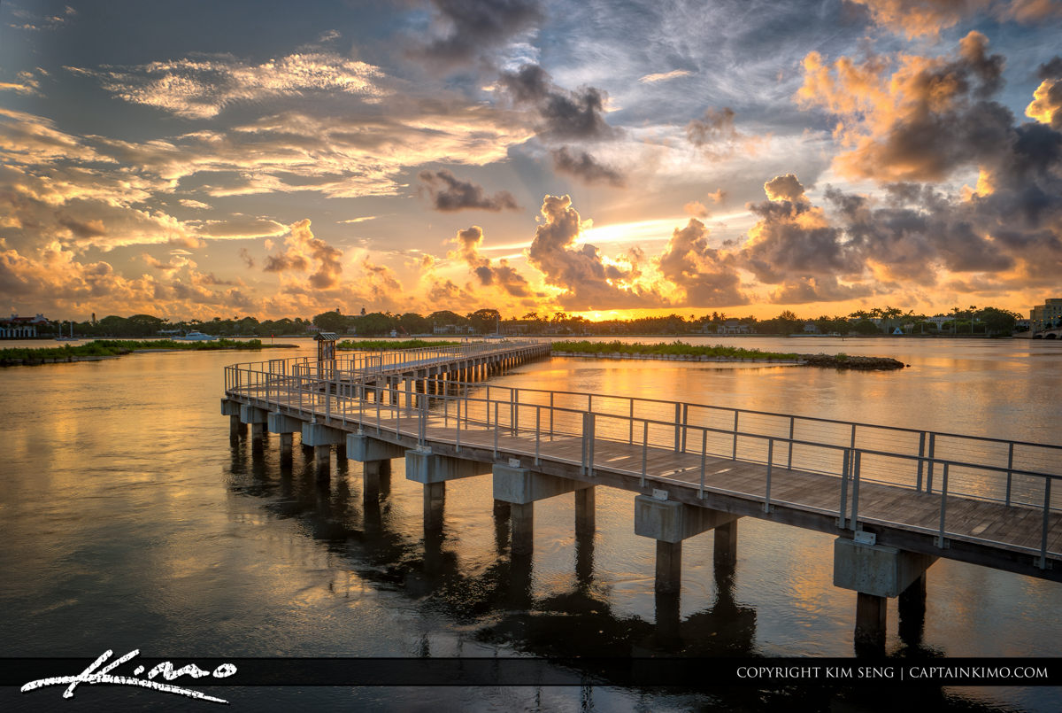 Sunrise Over South Cove Natural Area Pier WPB