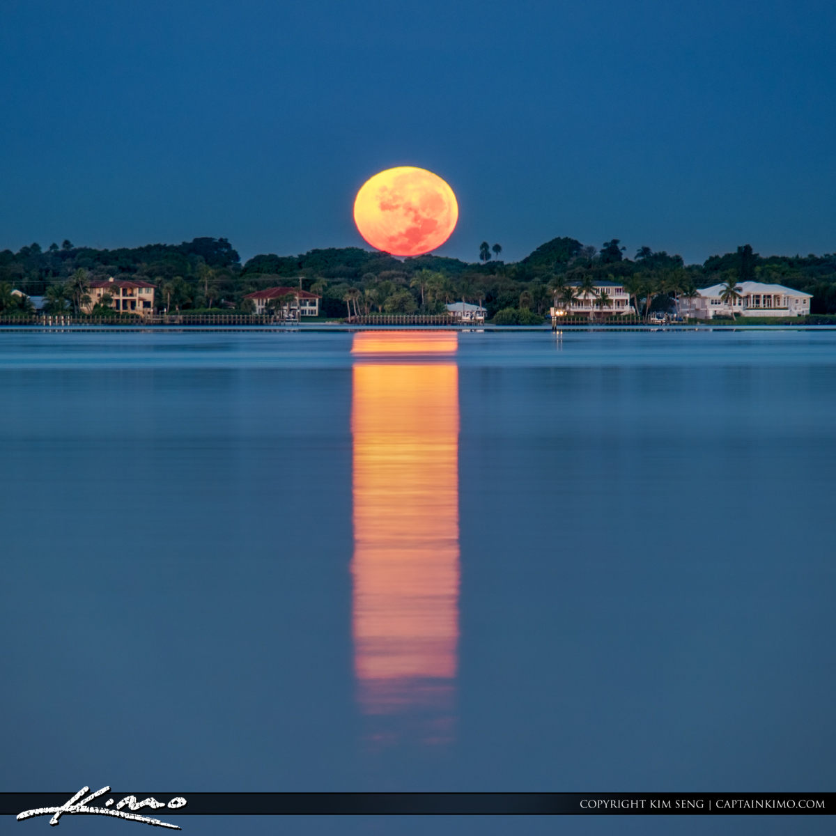 Sewall Point Moonset Over Stuart Waterway