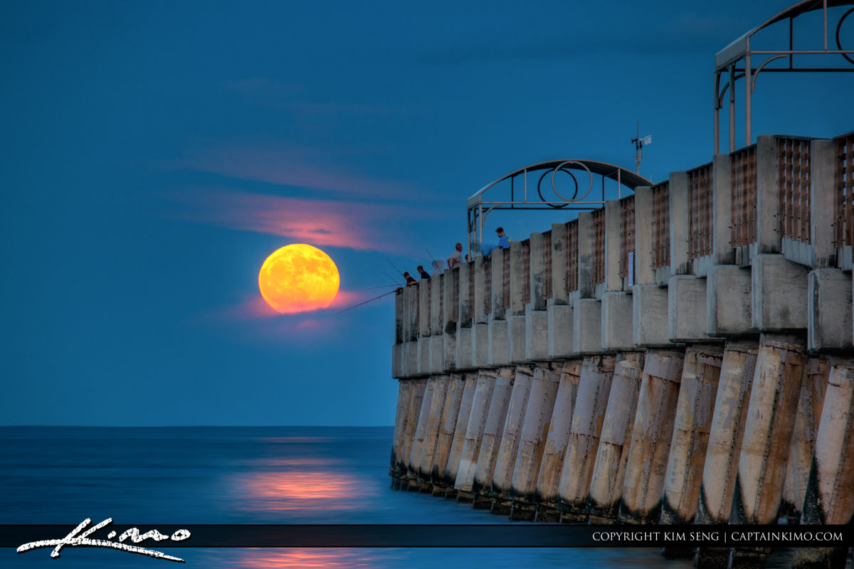 Full Harvest Moon Rise South Florida Lake Worth Pier