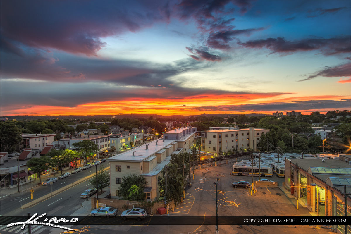 Massachusetts Avenue Sunset Cambridge MA