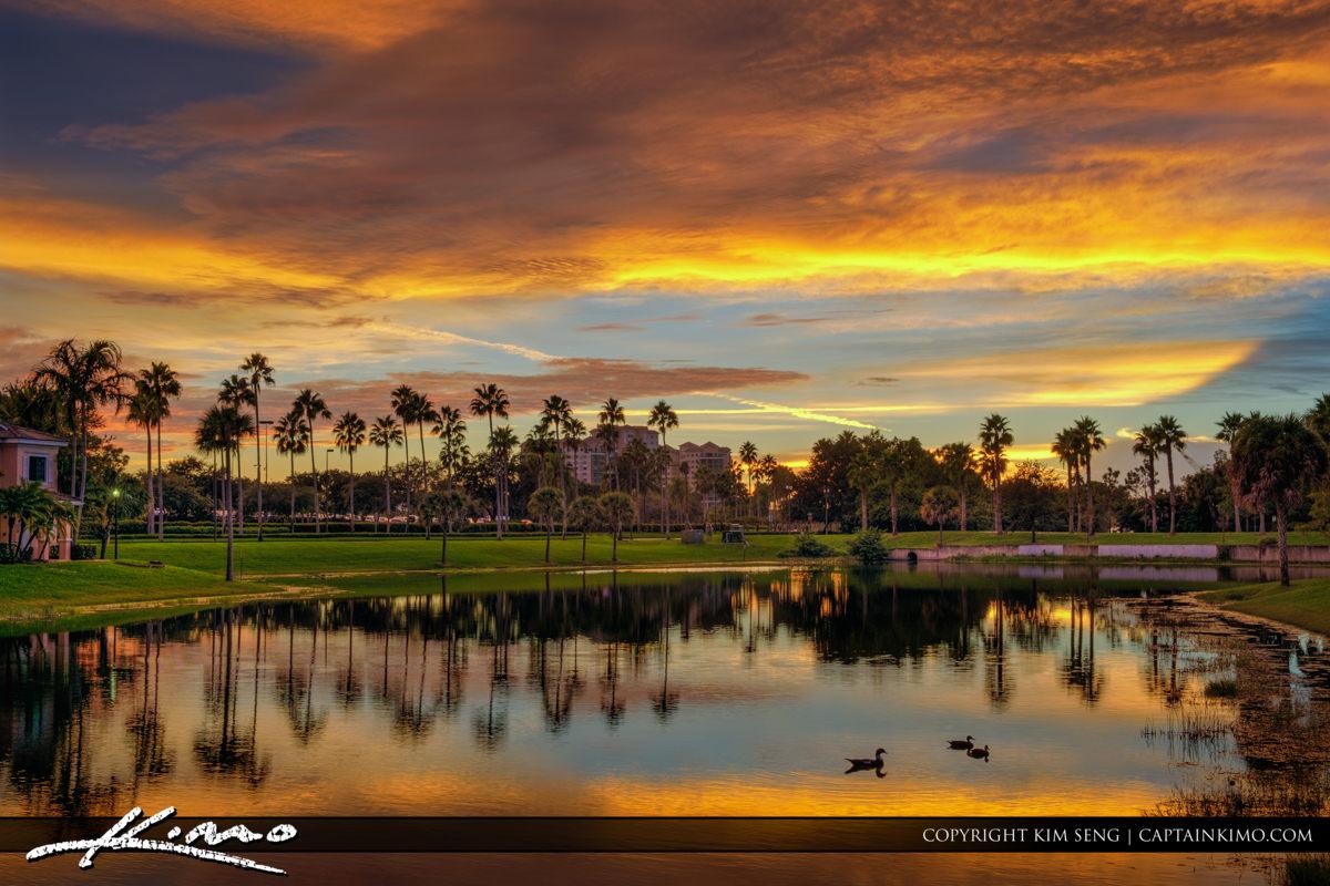 Palm BEach Gardens Lake Sunset along Gardens Parkway