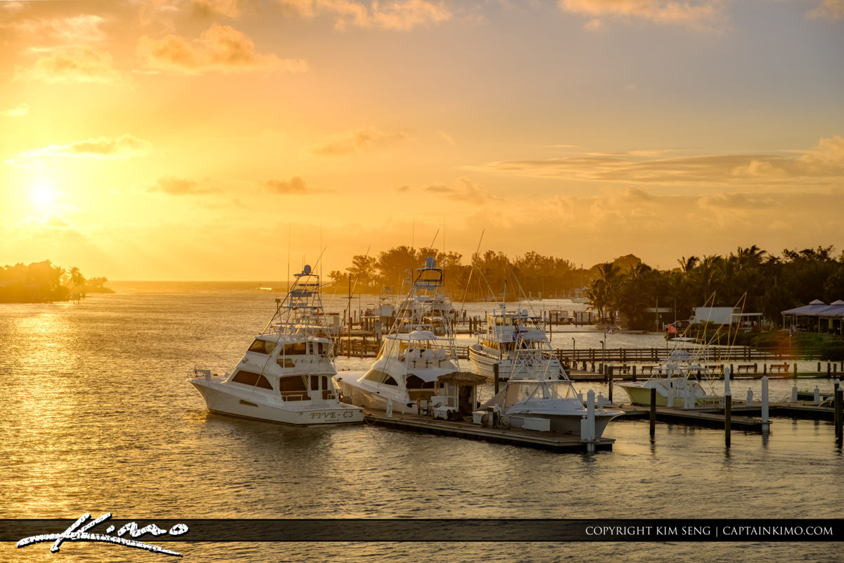 Sunrise Jupiter Inlet from Marina at Waterway