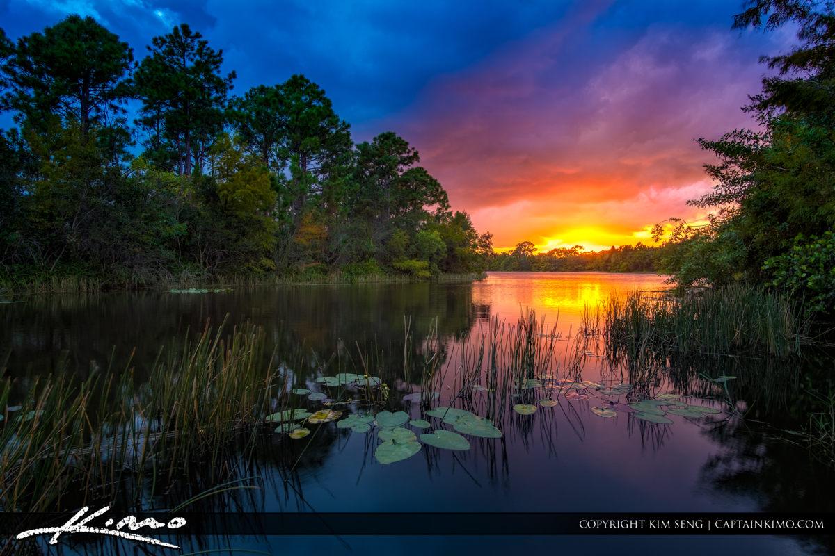 Sunset Jupiter Florida at Lake in Abacoa