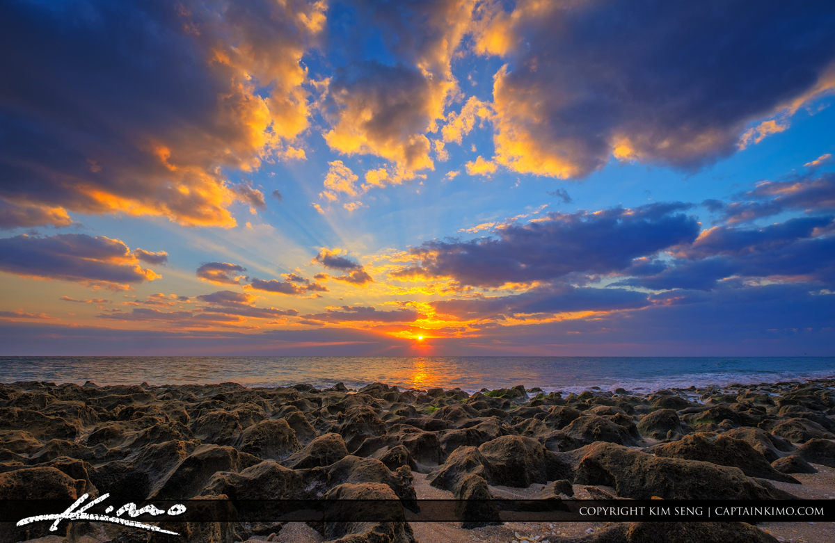 Sunrise Ocean Reef Park on Singer Island with Rocks