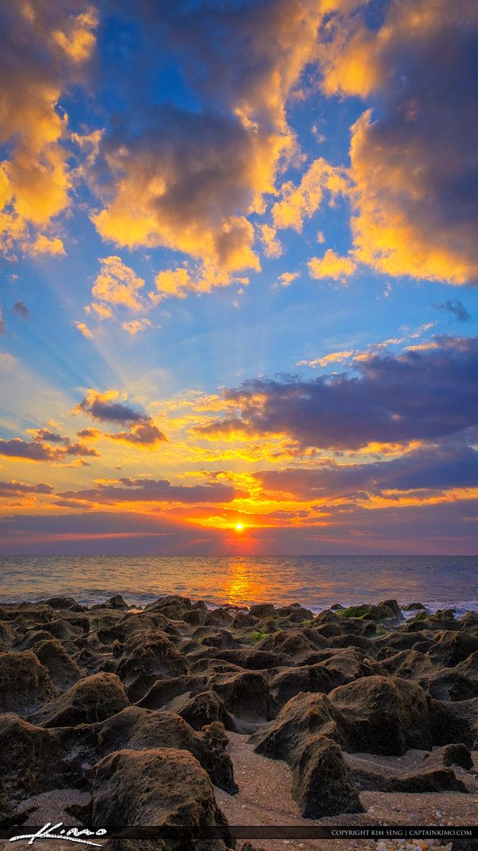 Sunrise Ocean Reef Park on Singer Island with Rocks Vertical