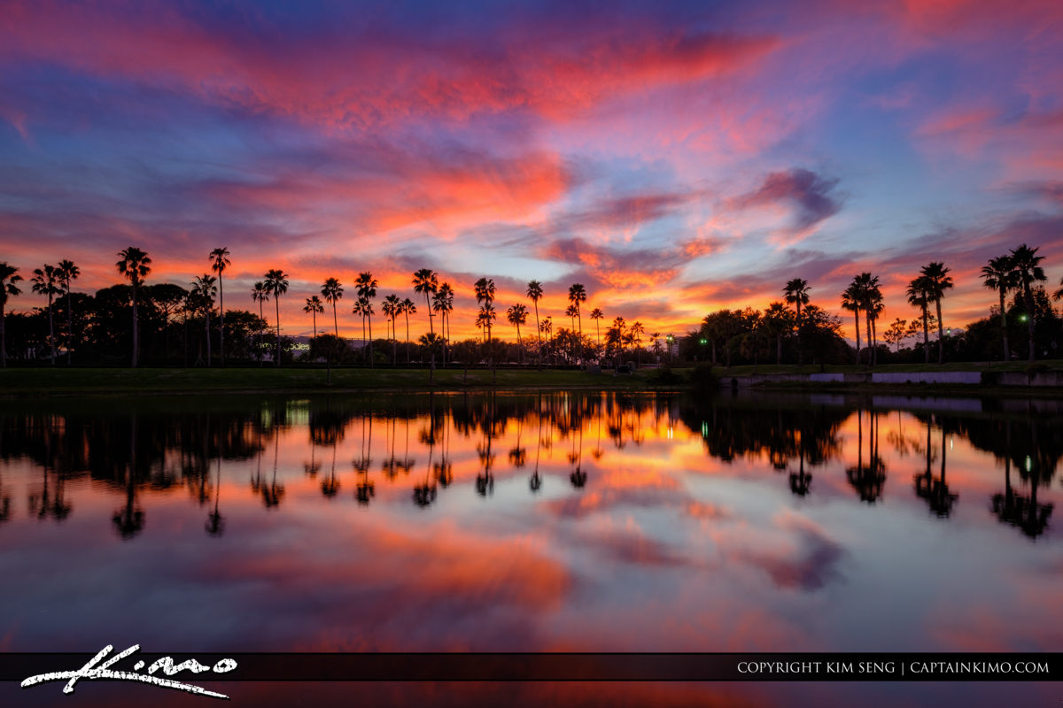 Palm Beach Gardens Sunset Lake and Reflection