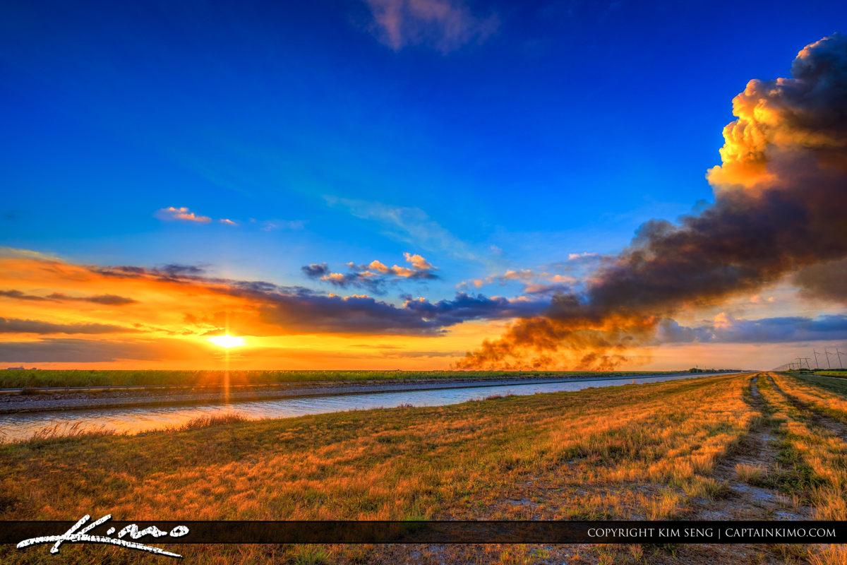 Burning at the Sugarcane Fields During Sunset Pahokee Florida