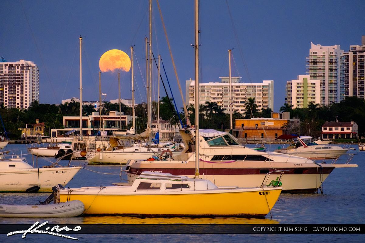 Moon Rise at Miami Florida Sailboats Star Island Watson Island