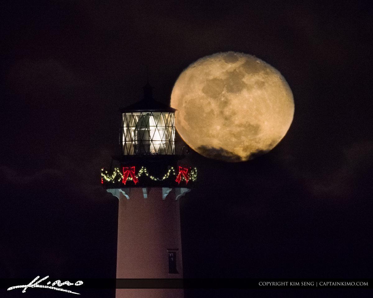 Moon Rise Jupiter Lighthouse After Dark