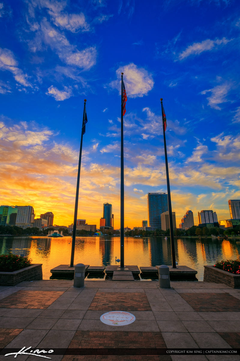 Orlando Florida Sunset Lake Eola