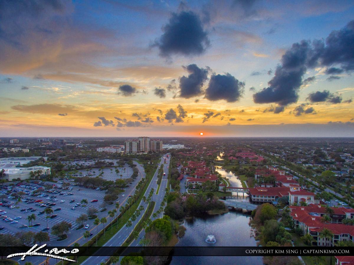 Palm Beach Gardens Sunset Aerial Over Gardens Parkway