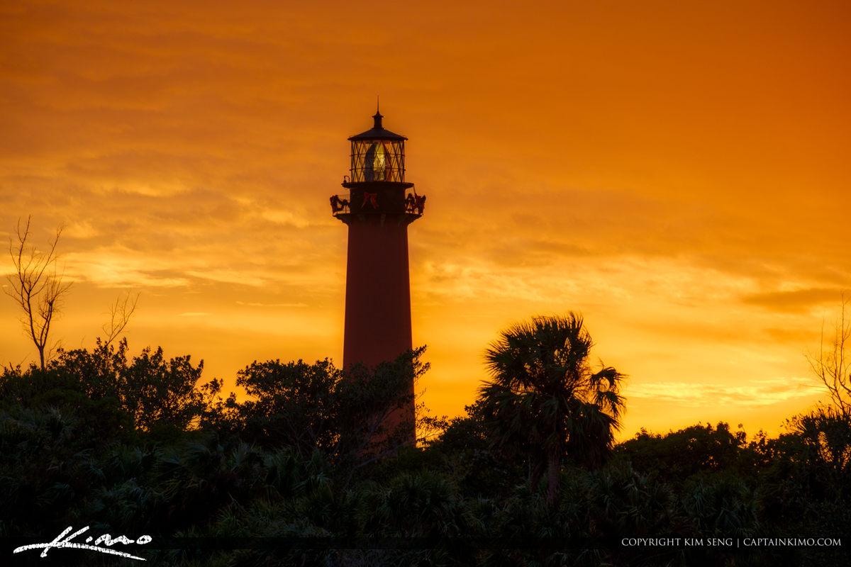 Jupiter Lighthouse Sunset Up Close from Marina