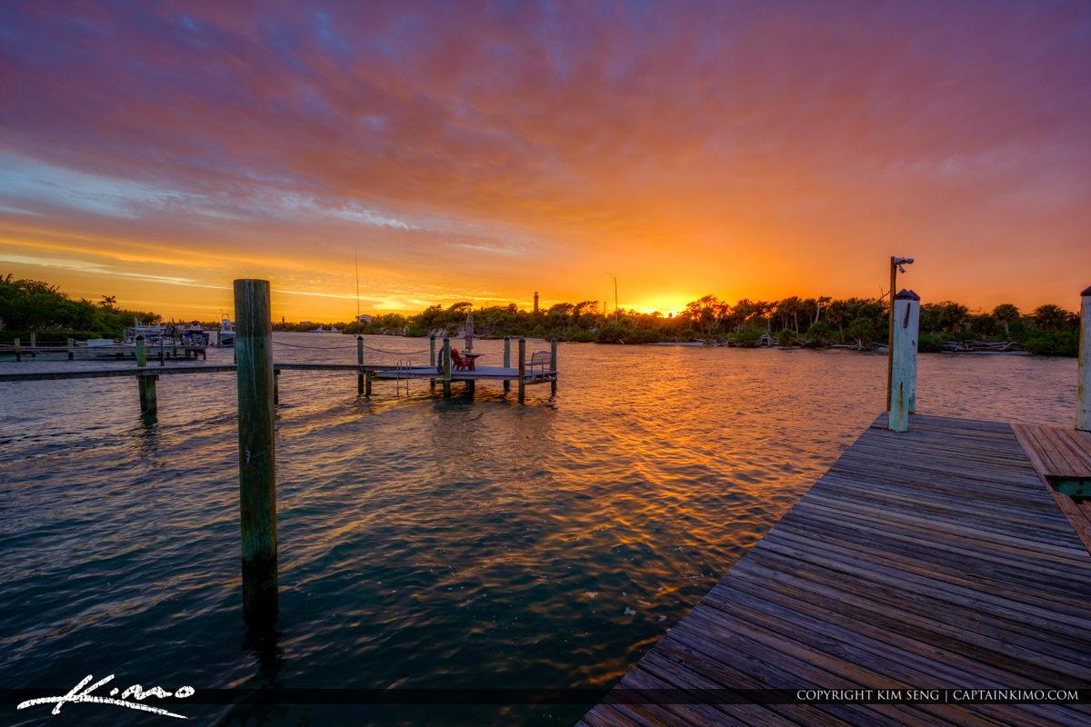 Jupiter Lighthouse Florida Sunset Waterway Marina from Dock