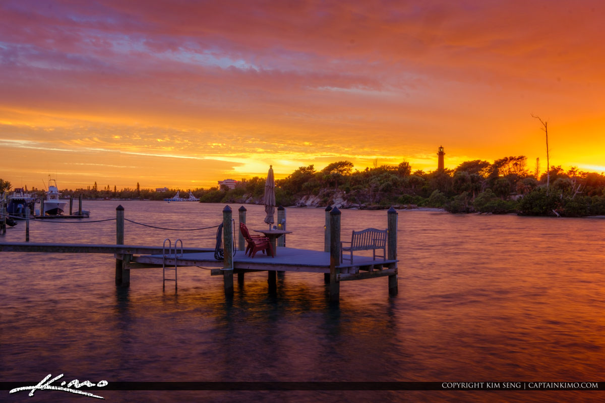 Loxahatchee River Sunset from Dock with Jupiter Lighthouse View