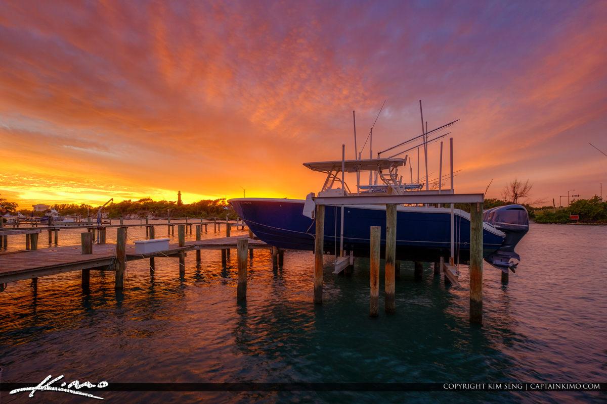 Boat Docked at the Marina During Sunset at the Jupiter Florida