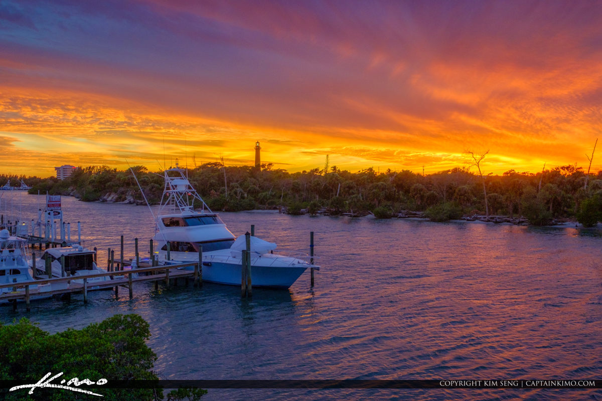 Jupiter Lighthouse Sunset with Boat in Foreground
