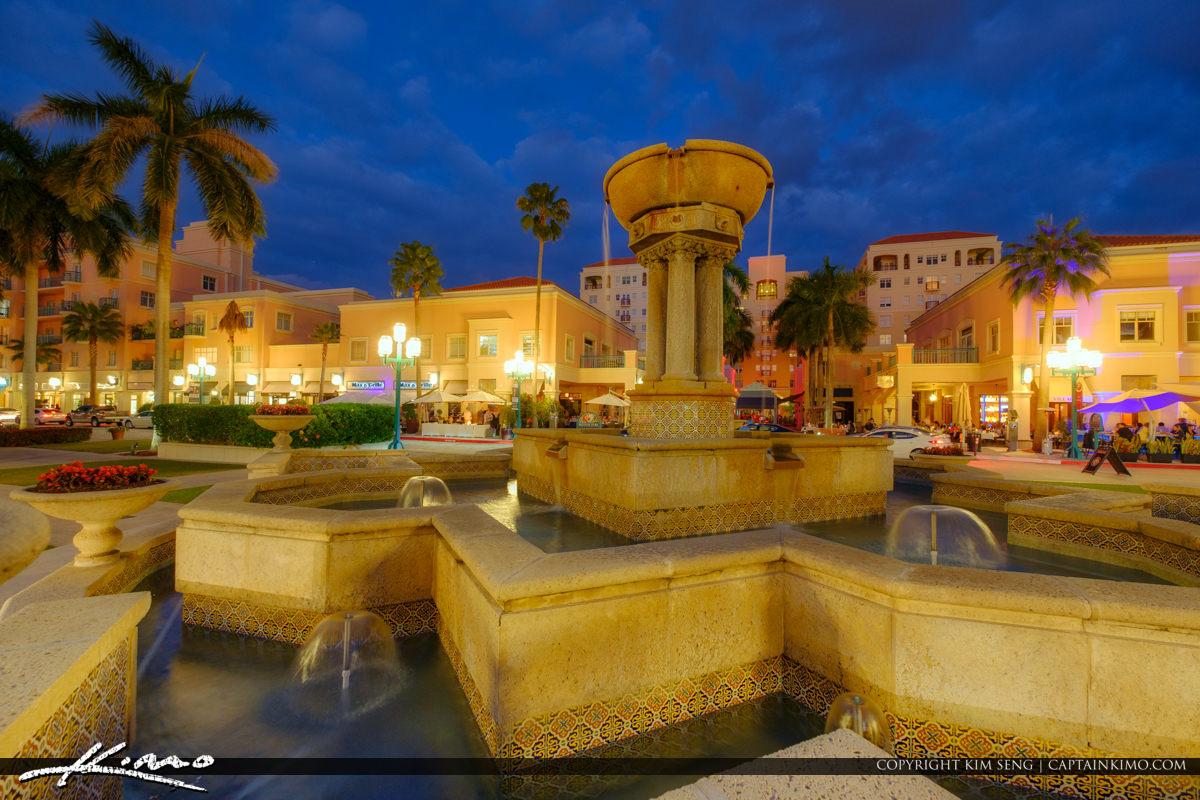 Mizner Park Downtown Night Life Boca Raton Florida