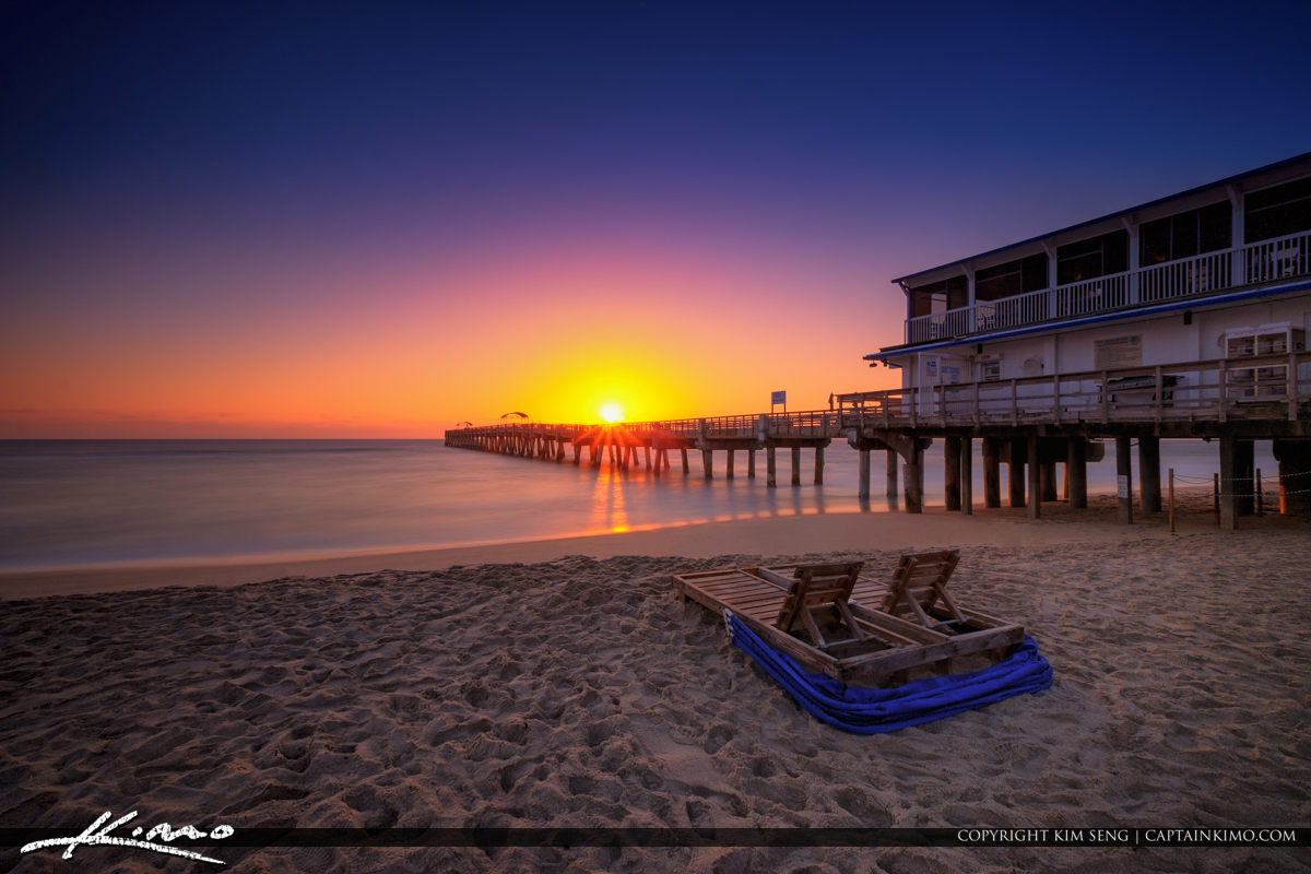 Lake Worth Pier Sunrise Smooth Ocean at Beach