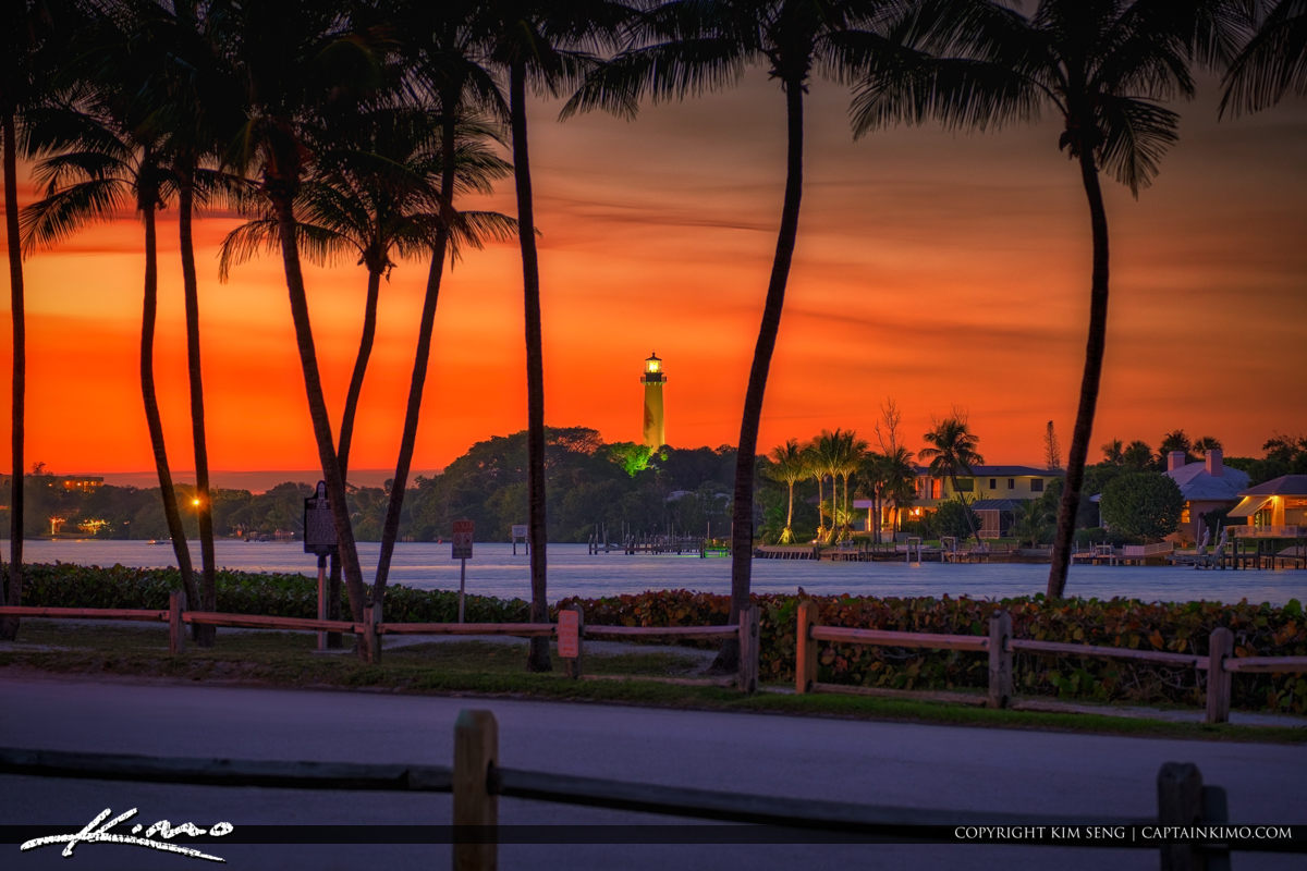 Jupiter Inlet Lighthouse and Museum Sunset Red Colors