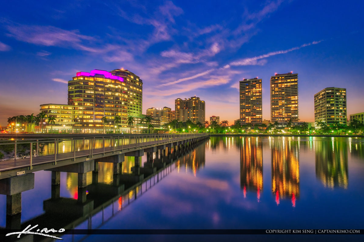 West Palm Beach South Cove Natural Area Skyline from Pier