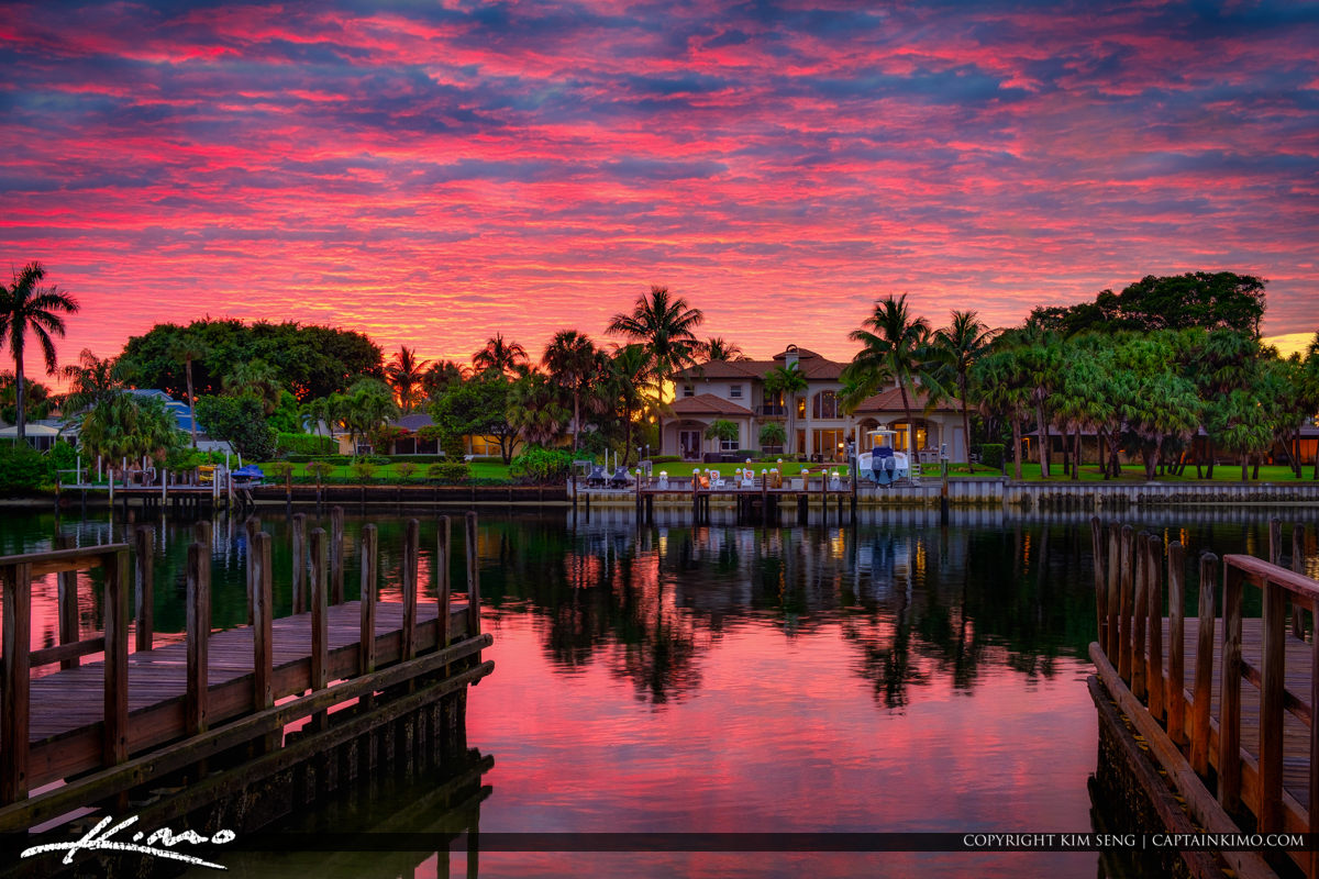 Sunset Waterway Juno Park with Waterfront Property South Florida