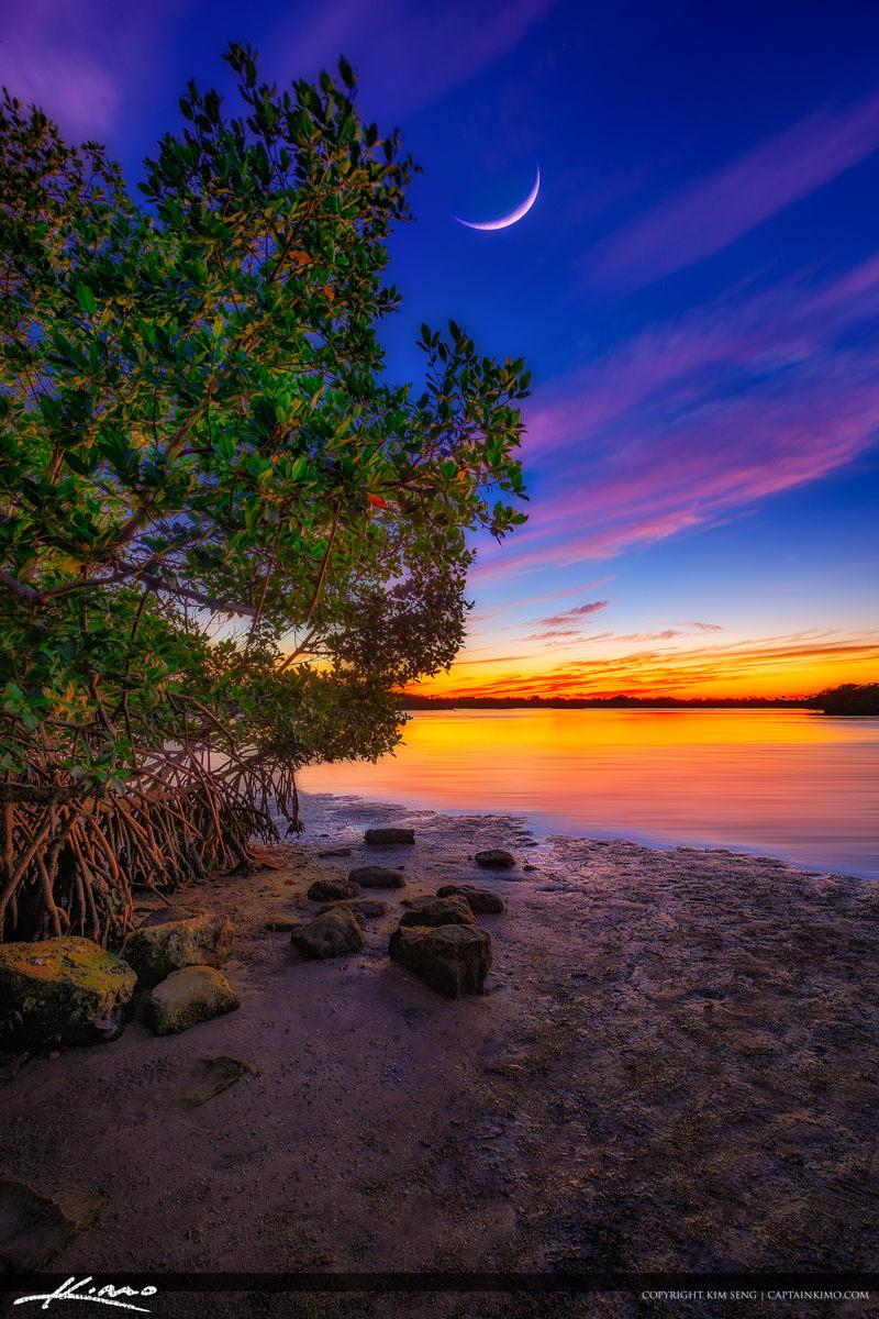 Crescent moon sunset Singer Island at John D MacArthur Beach State Park