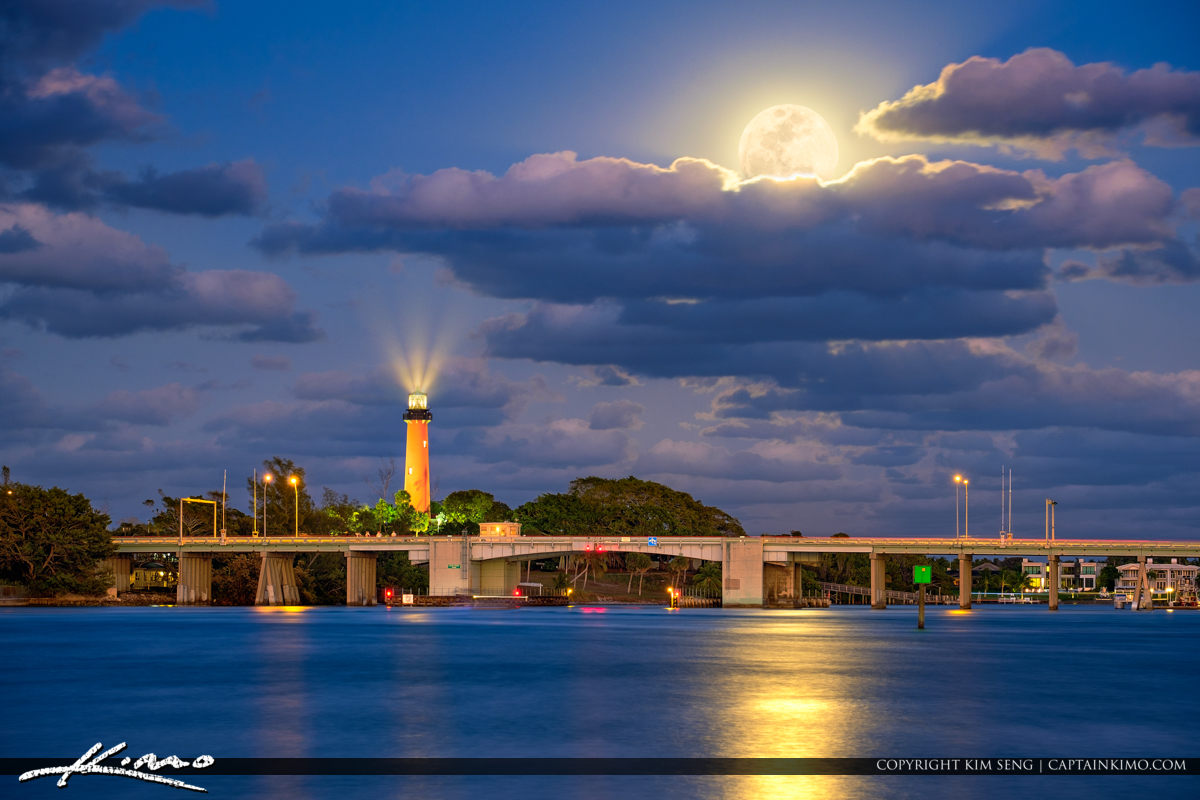 Full Moon Rise Over Waterway at the Jupiter Inlet Lighthouse Mus