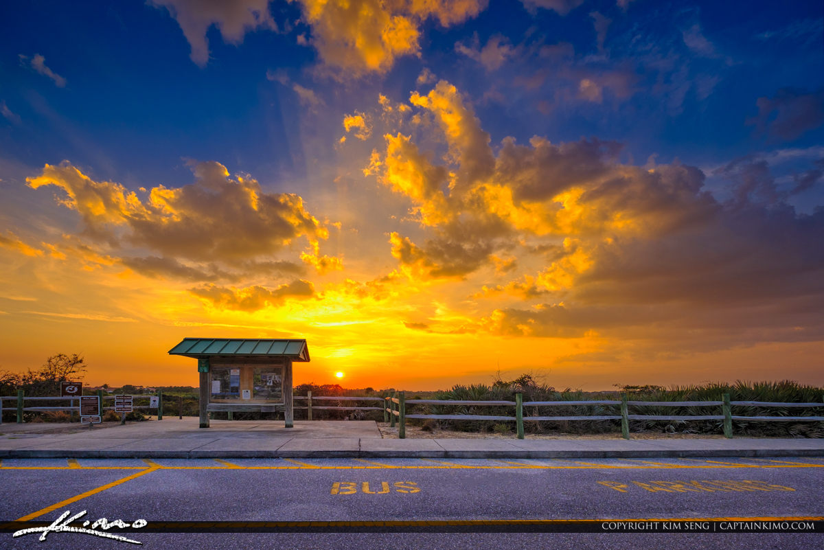Juno Dunes Natural Area Sunset at Entrance to Park Juno Beach Fl