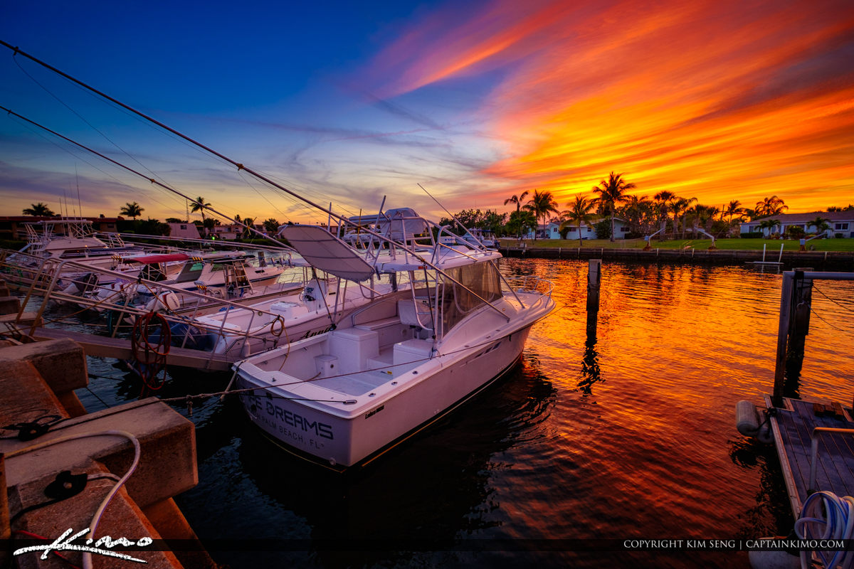 Anchorage Park North Palm Beach Sunset Boat Dock