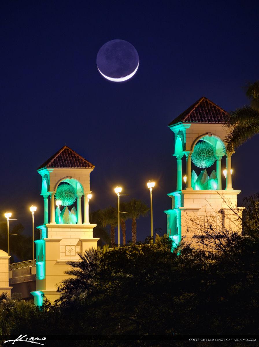 Crescent Moon Over PGA Blvd Bridge Palm Beach Gardens Florida