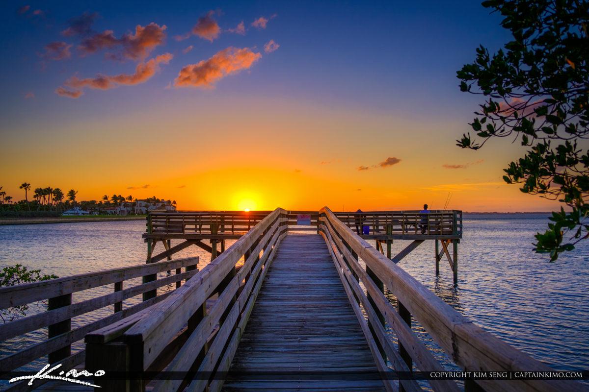 Bathtub Reef Beach Fishing Pier at Bessie Cove Stuart Florida Su