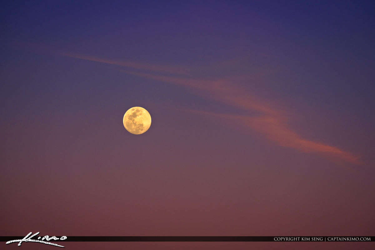 Moon Rise from South Florida with Purple Sky