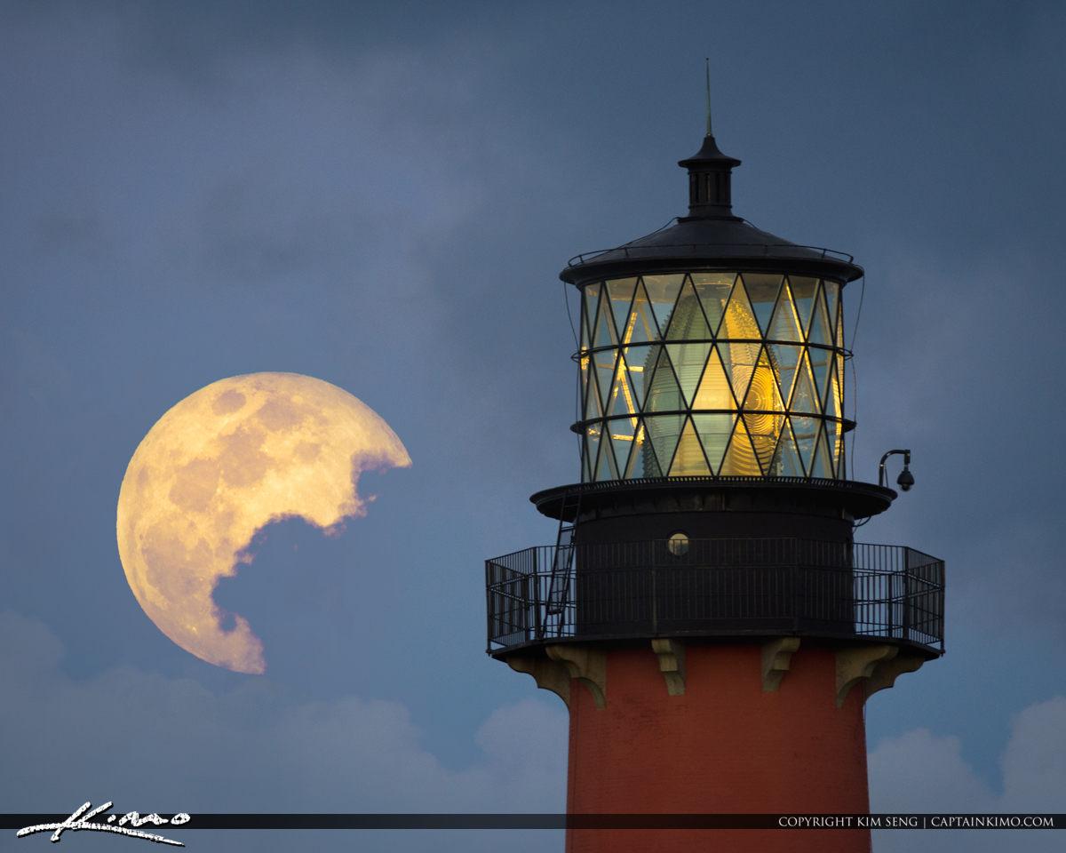 99 Percent Full Moon Rise from Jupiter Lighthouse Florida