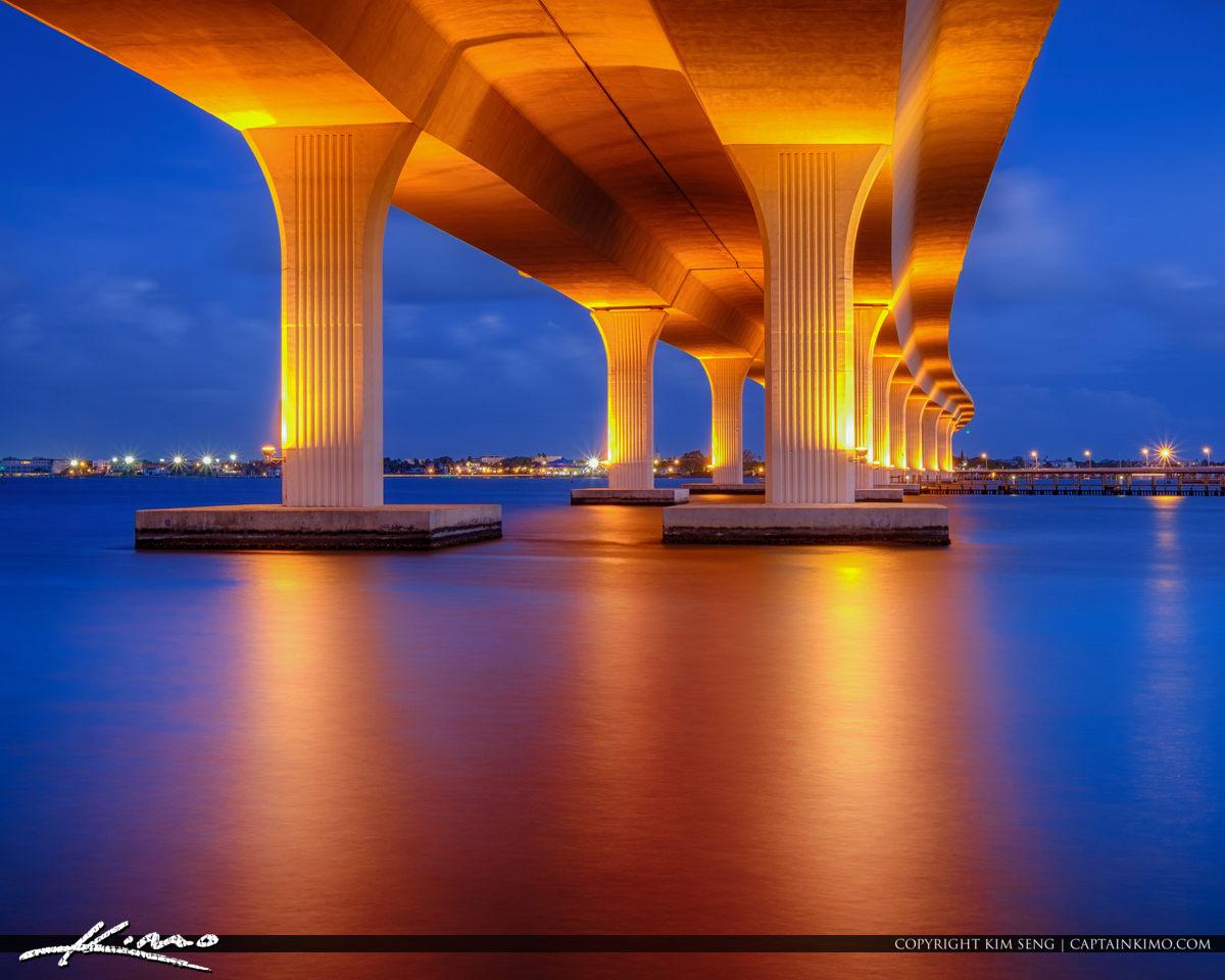 Roosevelt Bridge Stuart Florida Blue Light
