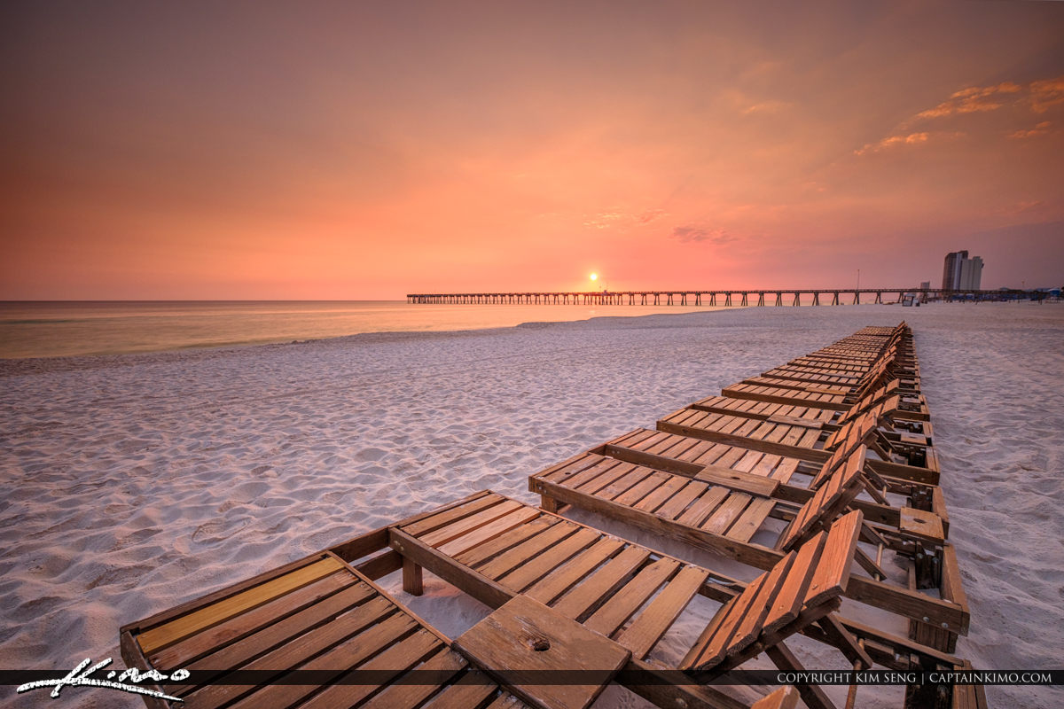 Sunset Over Russell-Fields Pier at Pier Park Panama City Beach Florida